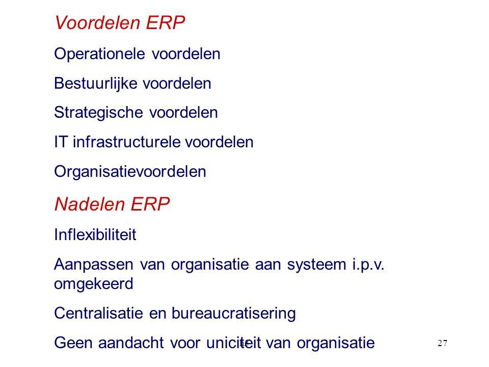 Voordelen ERP Nadelen ERP Operationele voordelen