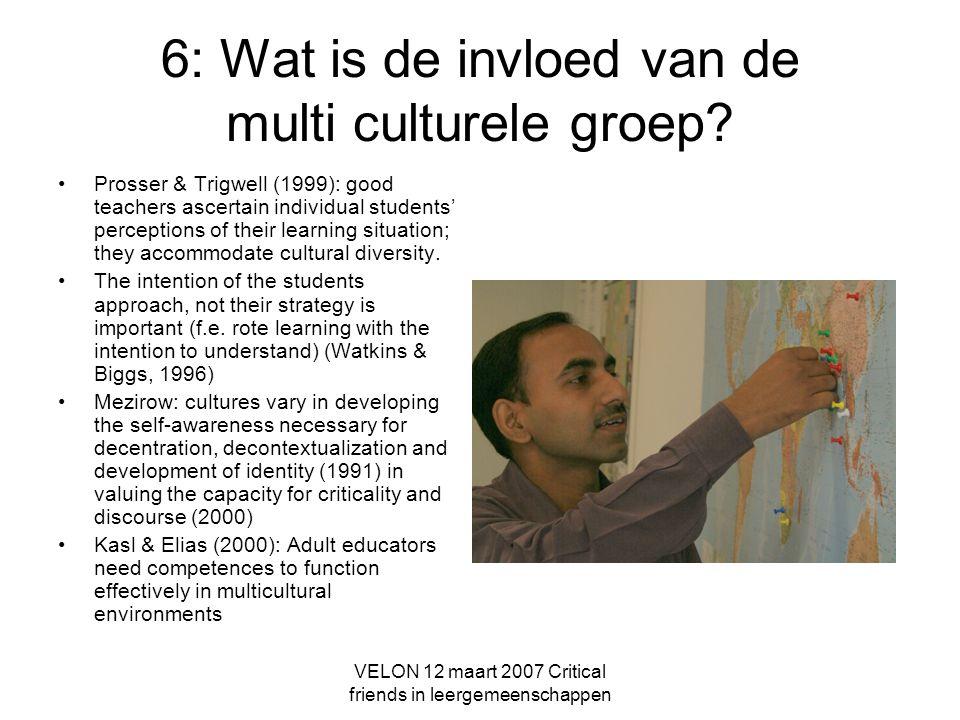 6: Wat is de invloed van de multi culturele groep