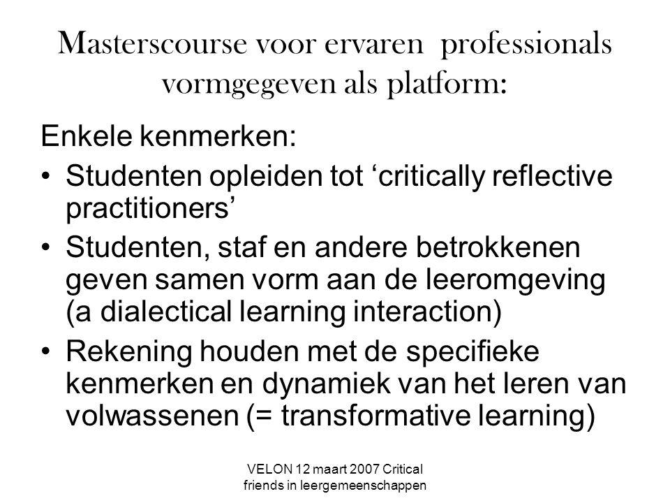 Masterscourse voor ervaren professionals vormgegeven als platform: