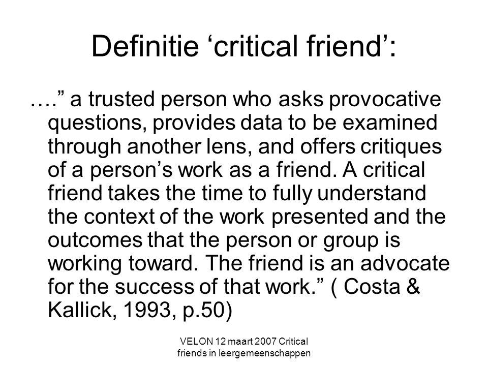 Definitie 'critical friend':