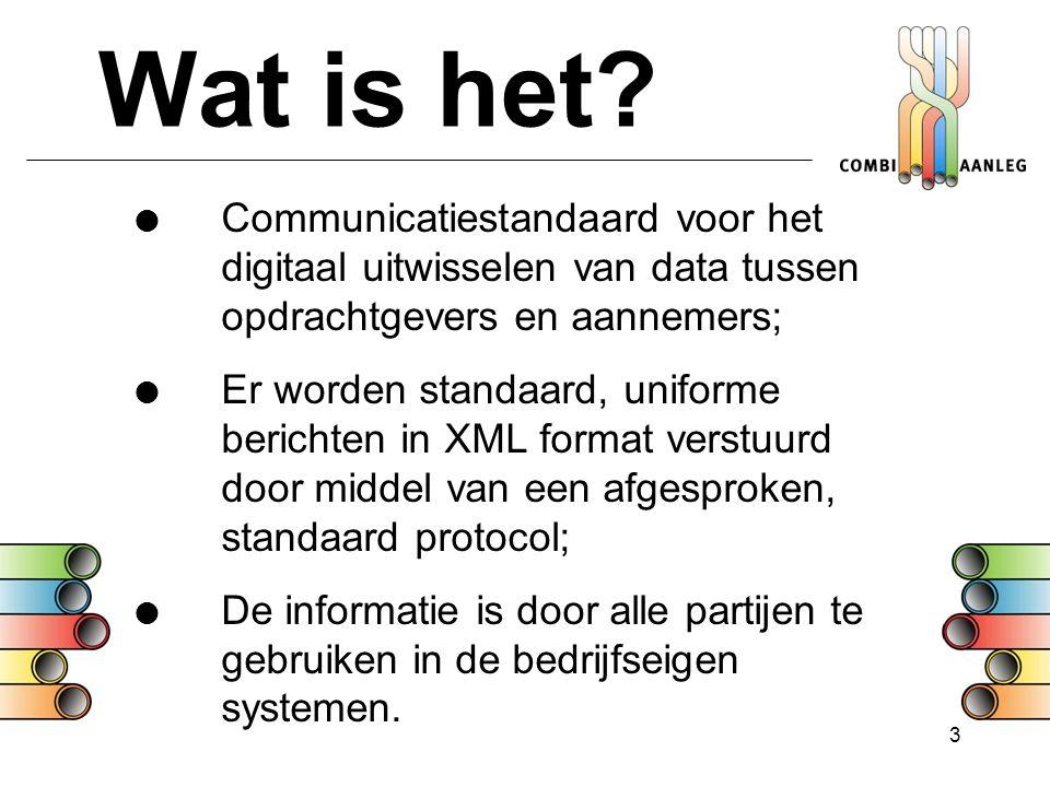 Wat is het Communicatiestandaard voor het digitaal uitwisselen van data tussen opdrachtgevers en aannemers;
