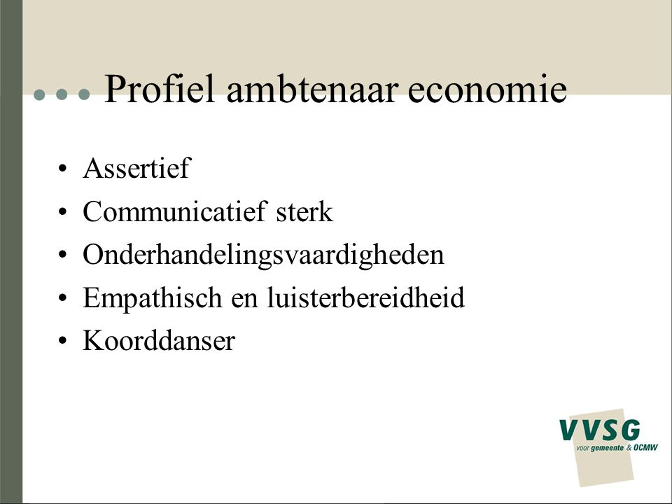 Profiel ambtenaar economie