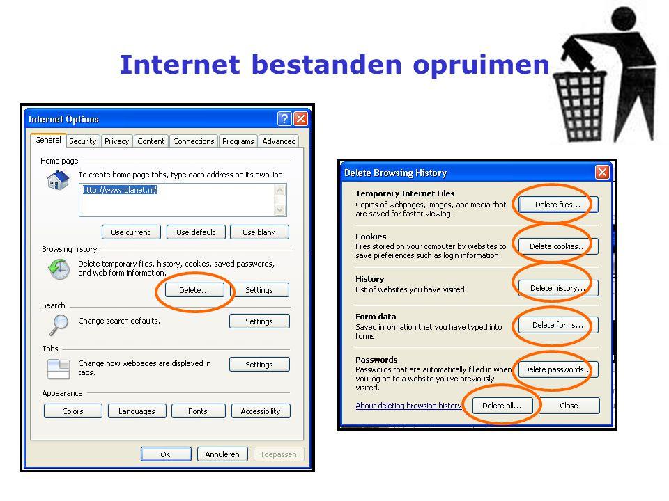 Internet bestanden opruimen