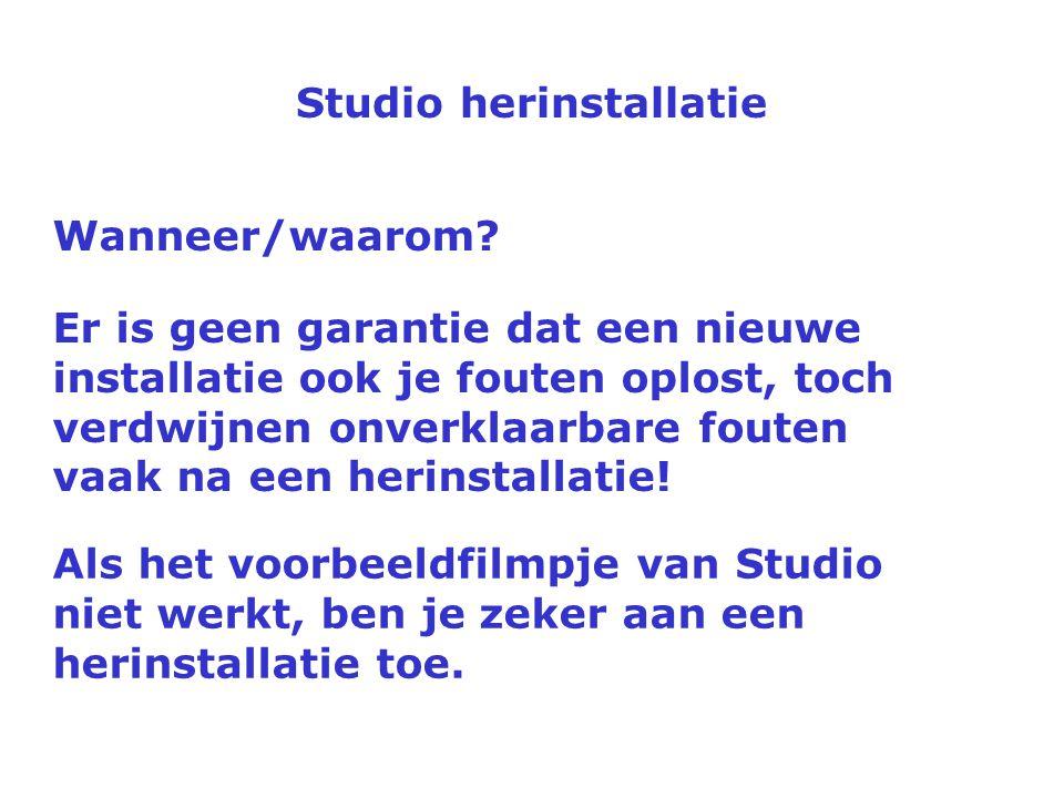 Studio herinstallatie