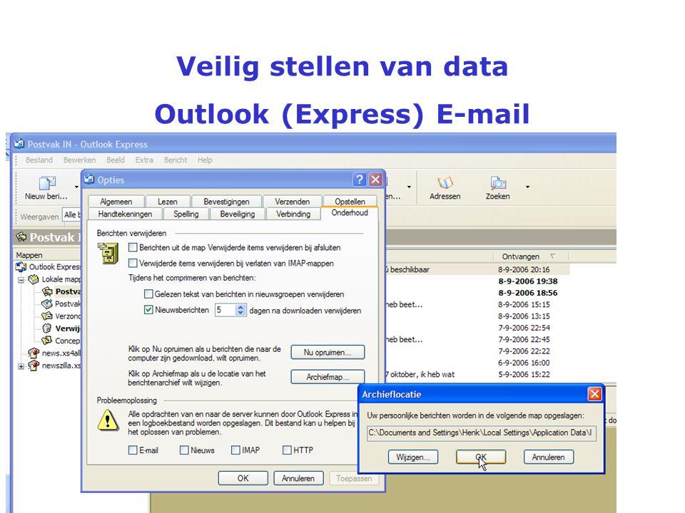 Veilig stellen van data Outlook (Express) E-mail