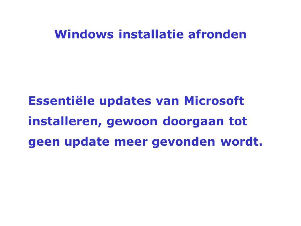Windows installatie afronden