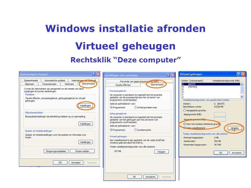 Windows installatie afronden Rechtsklik Deze computer