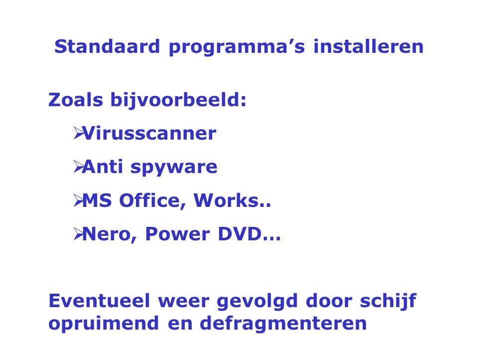 Standaard programma's installeren