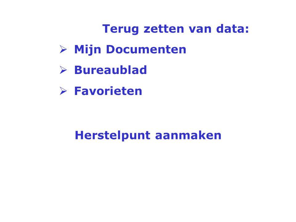 Terug zetten van data: Mijn Documenten Bureaublad Favorieten Herstelpunt aanmaken