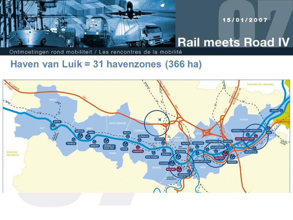 Haven van Luik = 31 havenzones (366 ha)