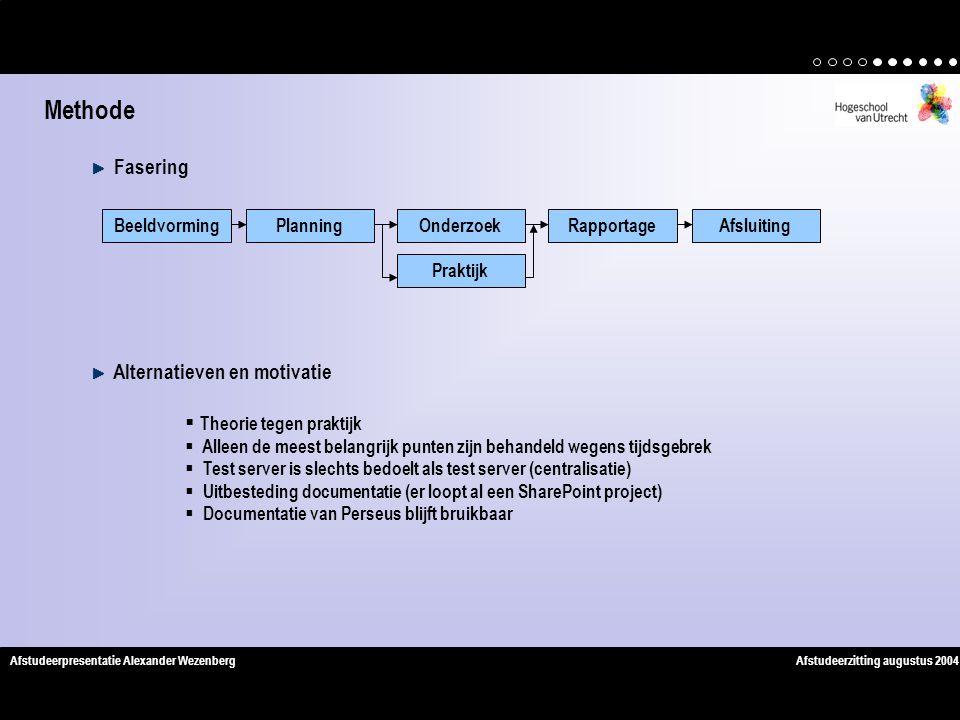 Methode Fasering Alternatieven en motivatie Theorie tegen praktijk
