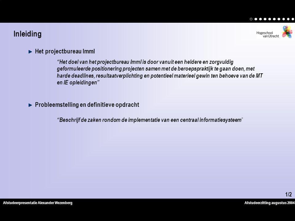 Inleiding Het projectbureau ImmI