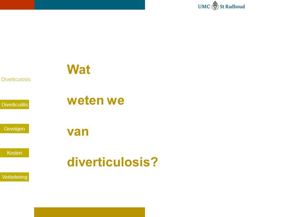 Voorkomen van diverticulosis. X-colon: literatuur