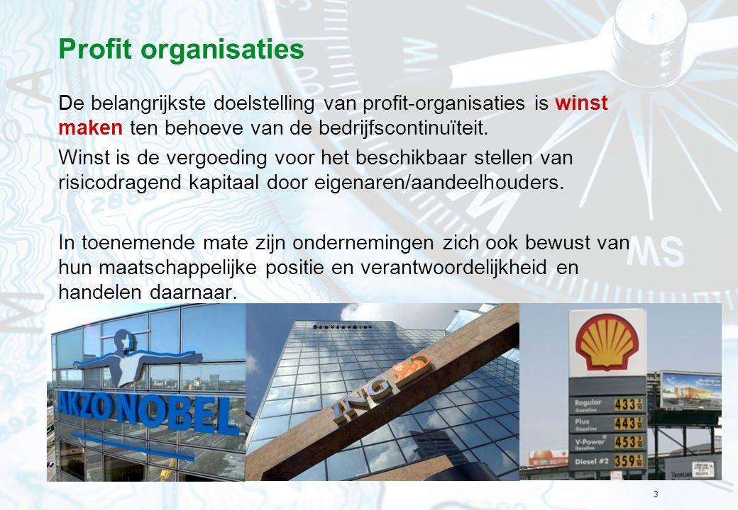Profit organisaties De belangrijkste doelstelling van profit-organisaties is winst maken ten behoeve van de bedrijfscontinuïteit.