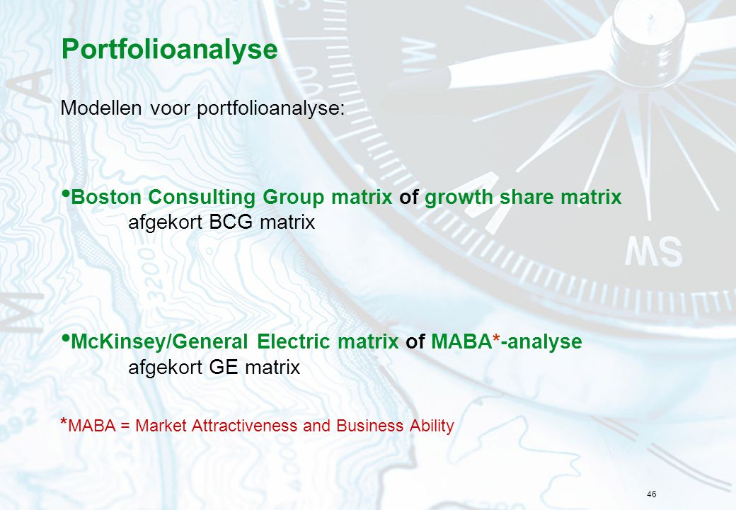 Portfolioanalyse Modellen voor portfolioanalyse: