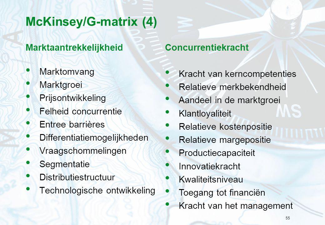 McKinsey/G-matrix (4) Marktaantrekkelijkheid Marktomvang Marktgroei