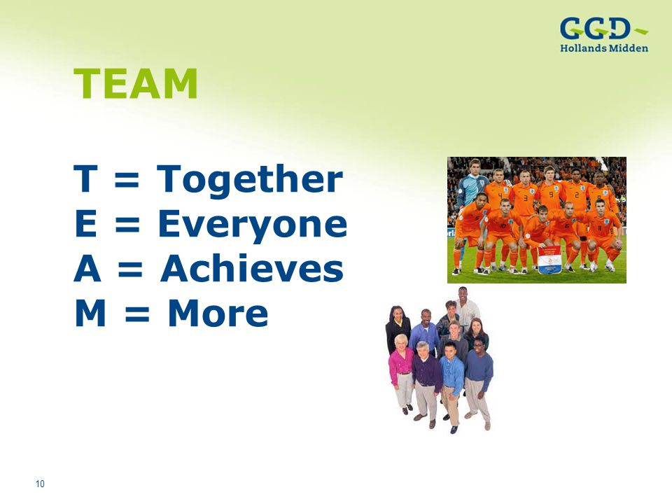 TEAM T = Together E = Everyone A = Achieves M = More