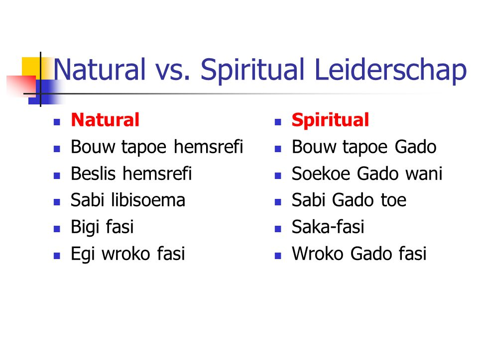 Natural vs. Spiritual Leiderschap
