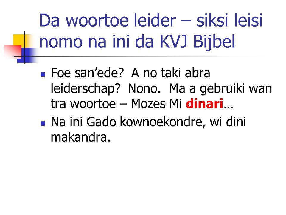 Da woortoe leider – siksi leisi nomo na ini da KVJ Bijbel