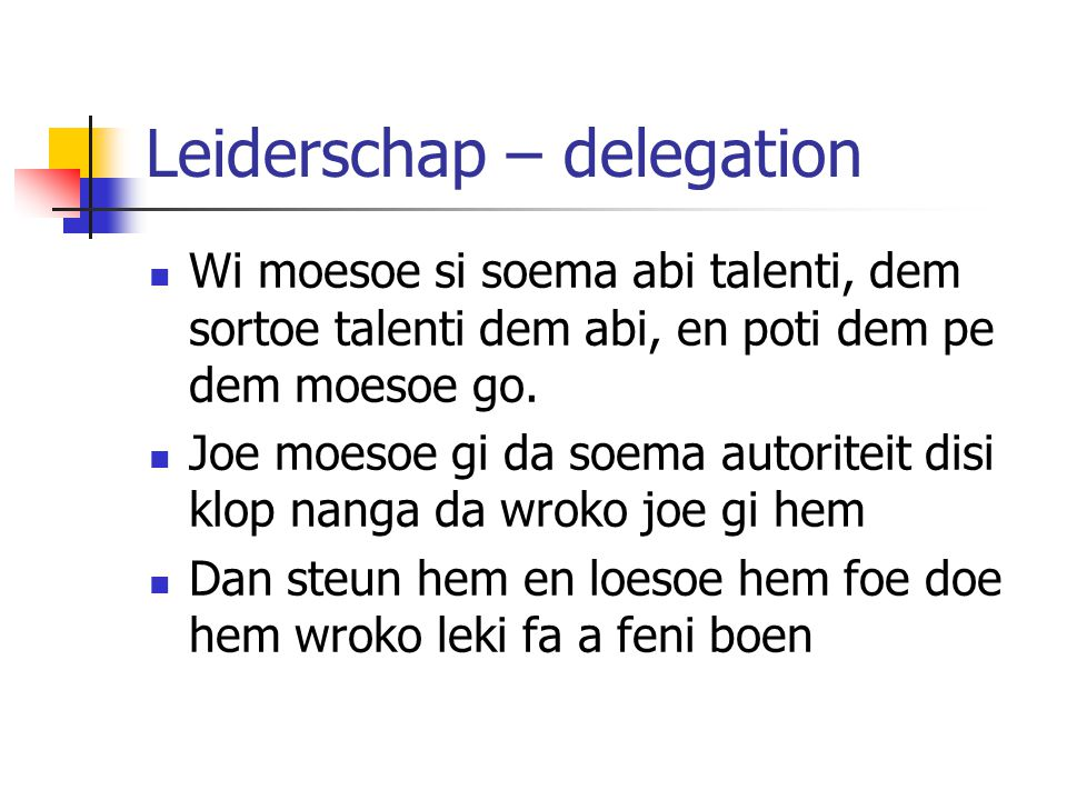 Leiderschap – delegation