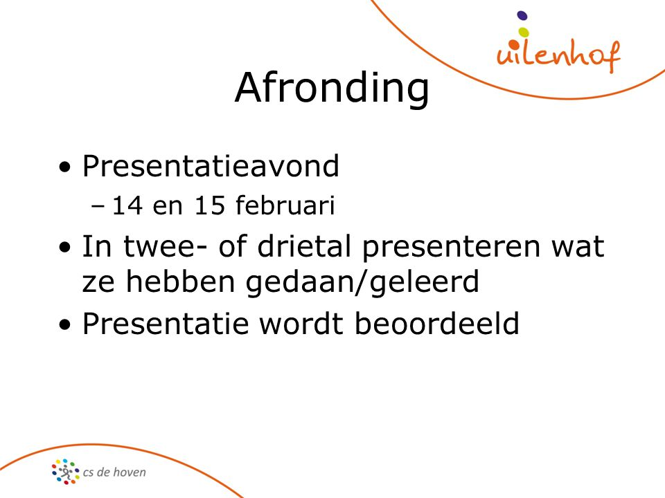 Afronding Presentatieavond