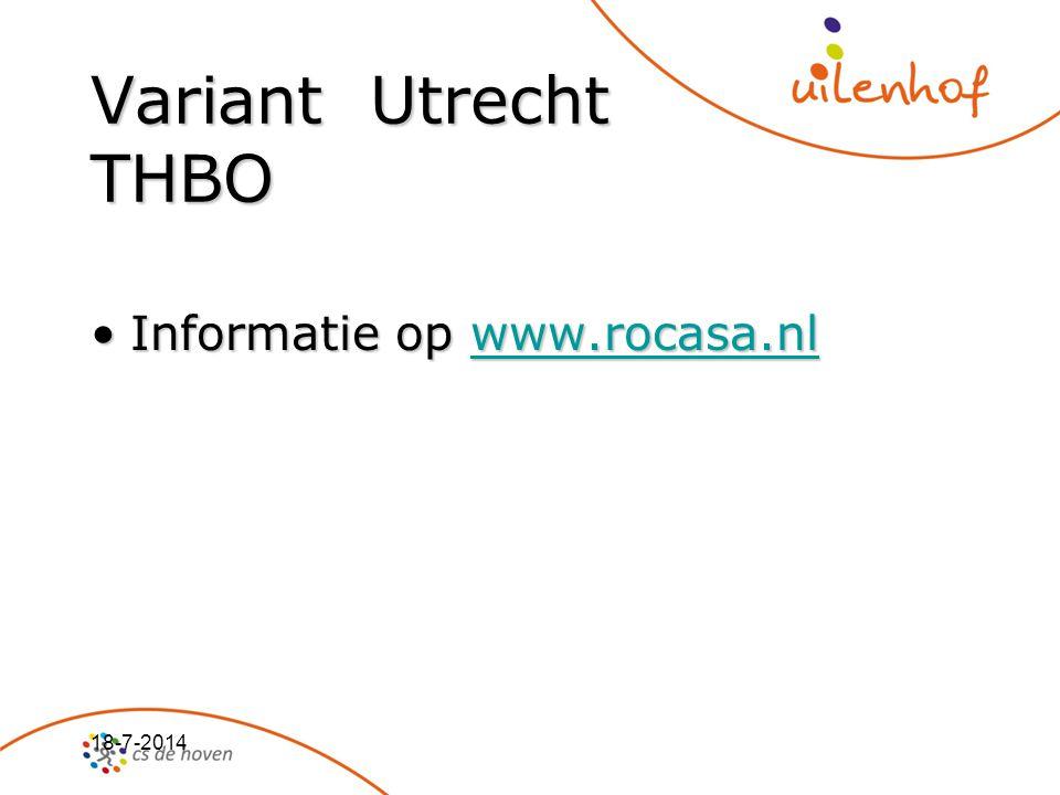 Variant Utrecht THBO Informatie op www.rocasa.nl 4-4-2017