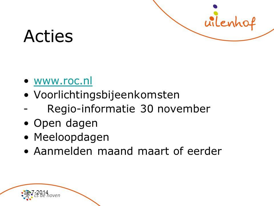 Acties www.roc.nl Voorlichtingsbijeenkomsten
