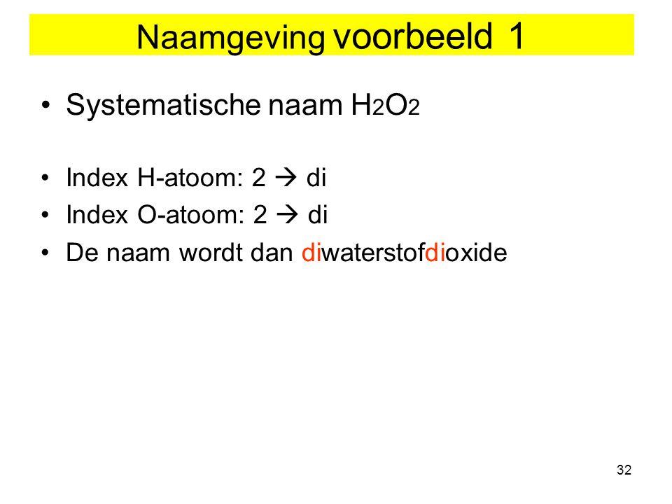 Naamgeving voorbeeld 1 Systematische naam H2O2 Index H-atoom: 2  di