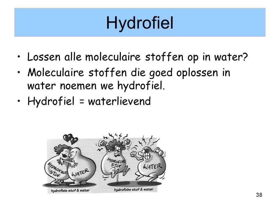 Hydrofiel Lossen alle moleculaire stoffen op in water