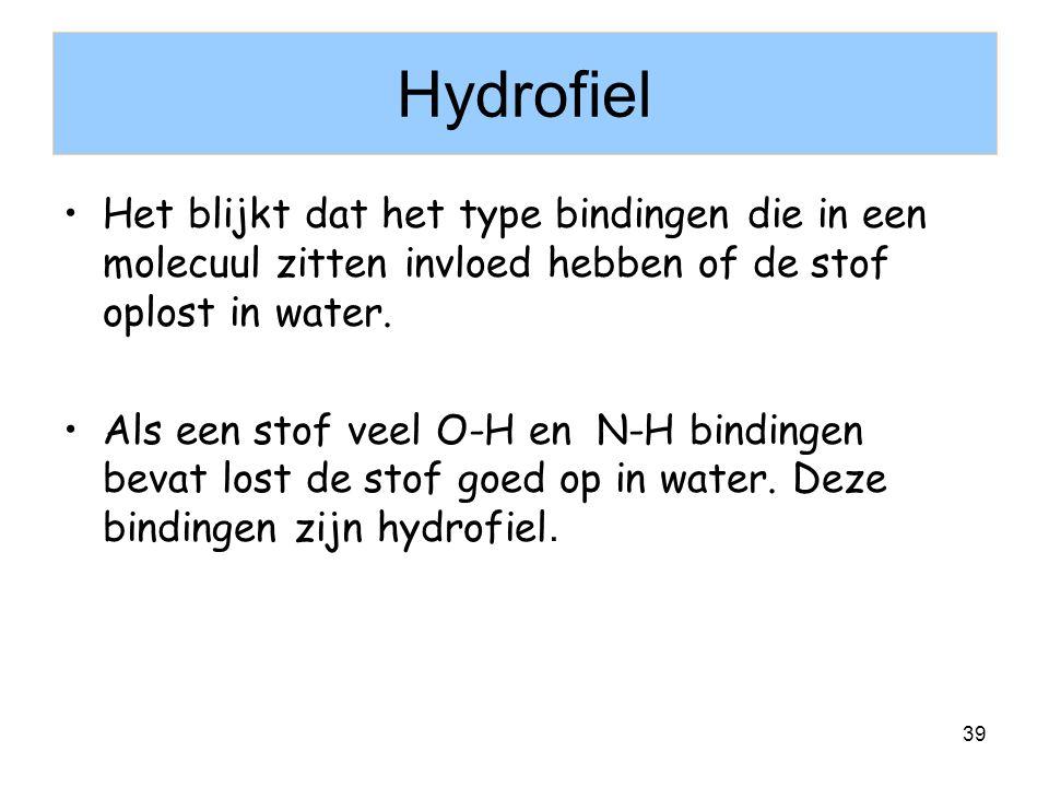 Hydrofiel Het blijkt dat het type bindingen die in een molecuul zitten invloed hebben of de stof oplost in water.