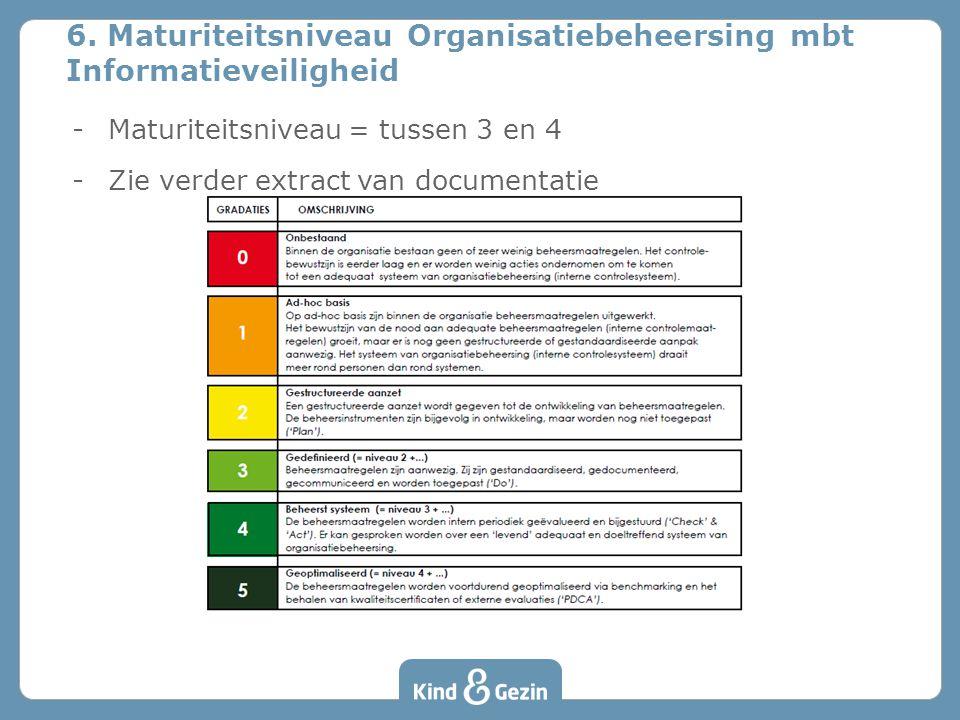 6. Maturiteitsniveau Organisatiebeheersing mbt Informatieveiligheid