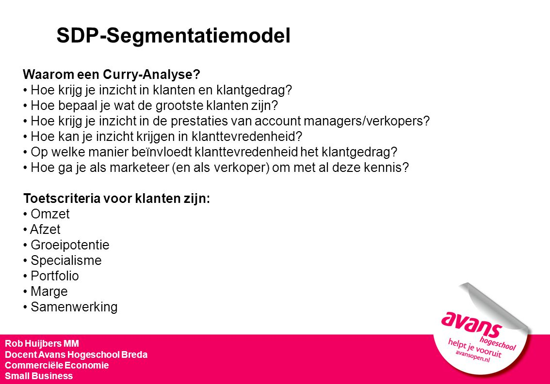 SDP-Segmentatiemodel