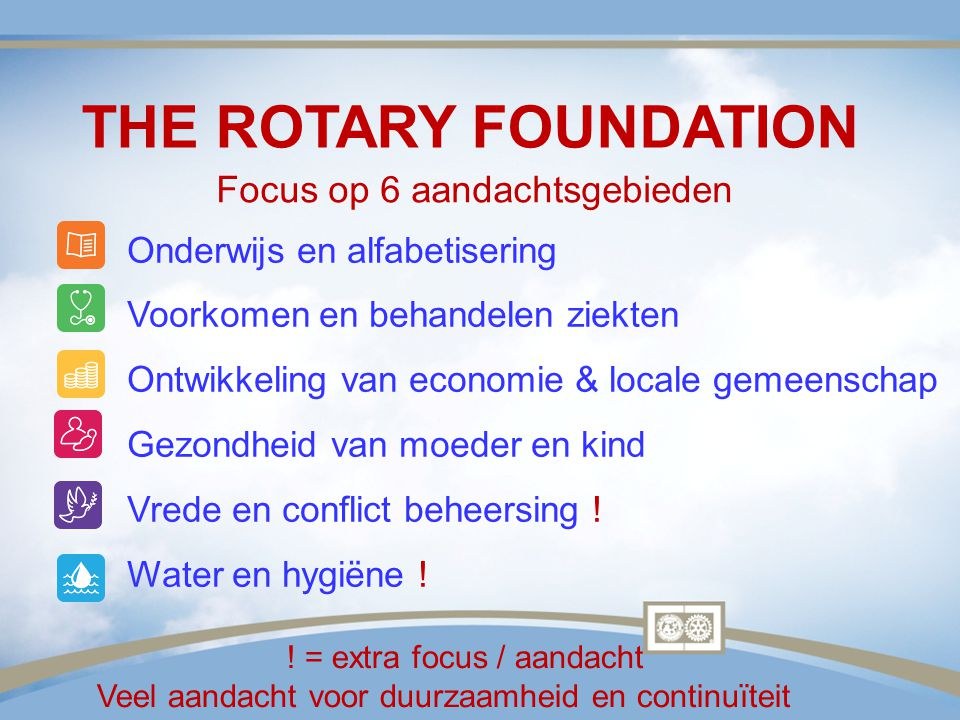 THE ROTARY FOUNDATION Focus op 6 aandachtsgebieden