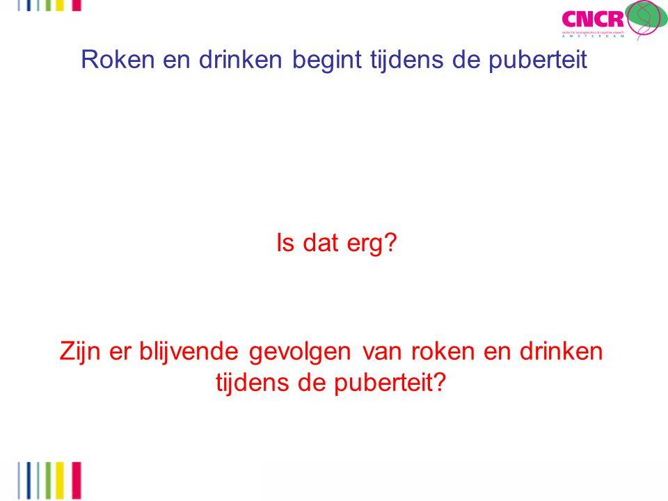 Roken en drinken begint tijdens de puberteit