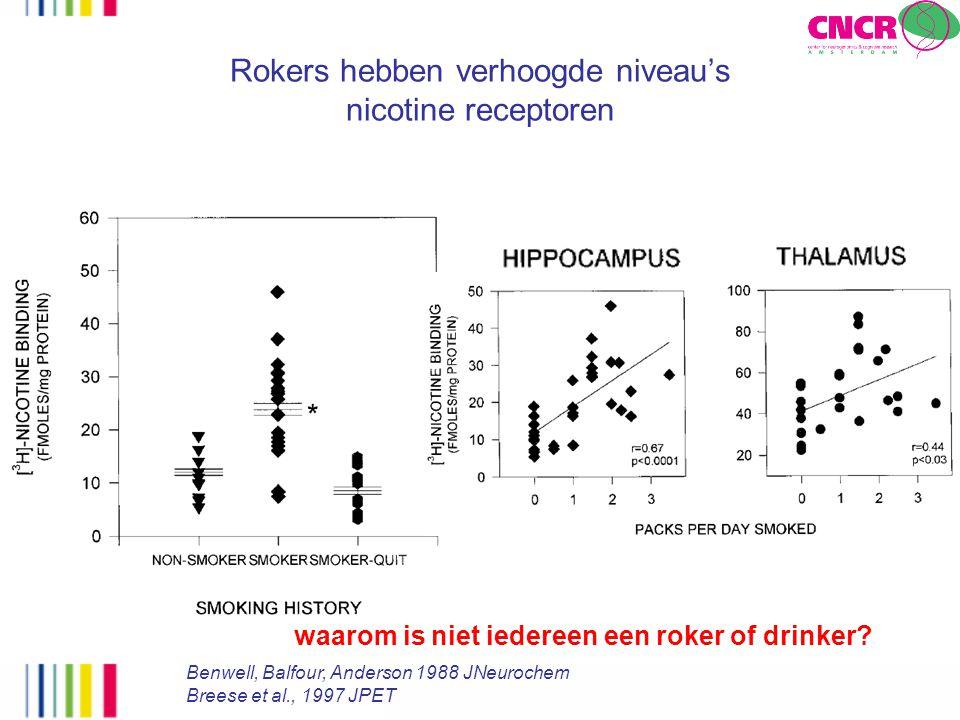 Rokers hebben verhoogde niveau's nicotine receptoren