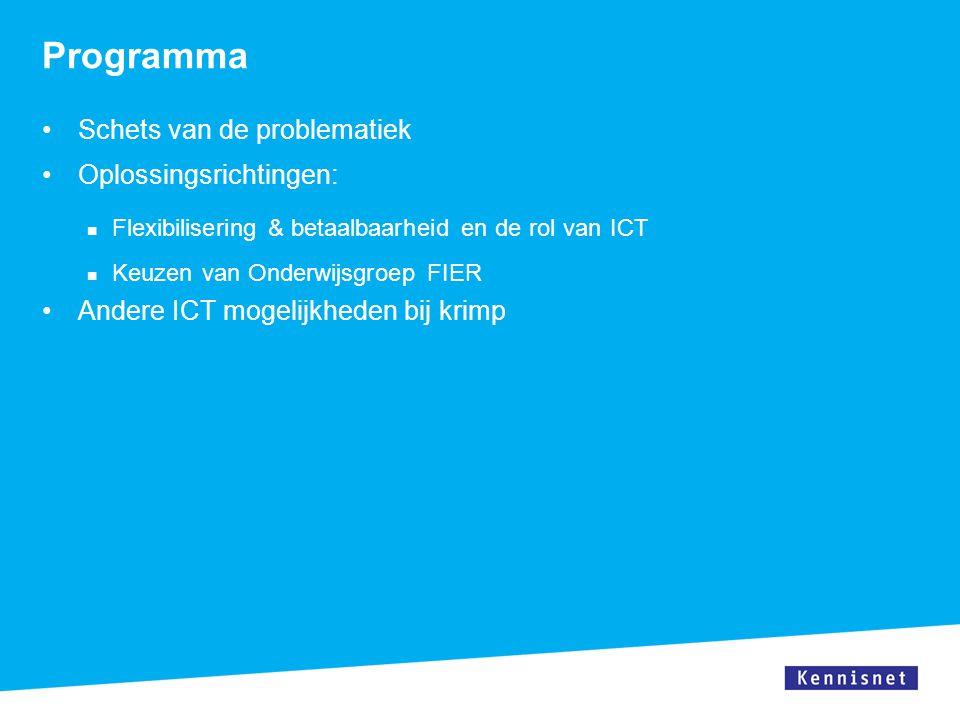 Programma Schets van de problematiek Oplossingsrichtingen: