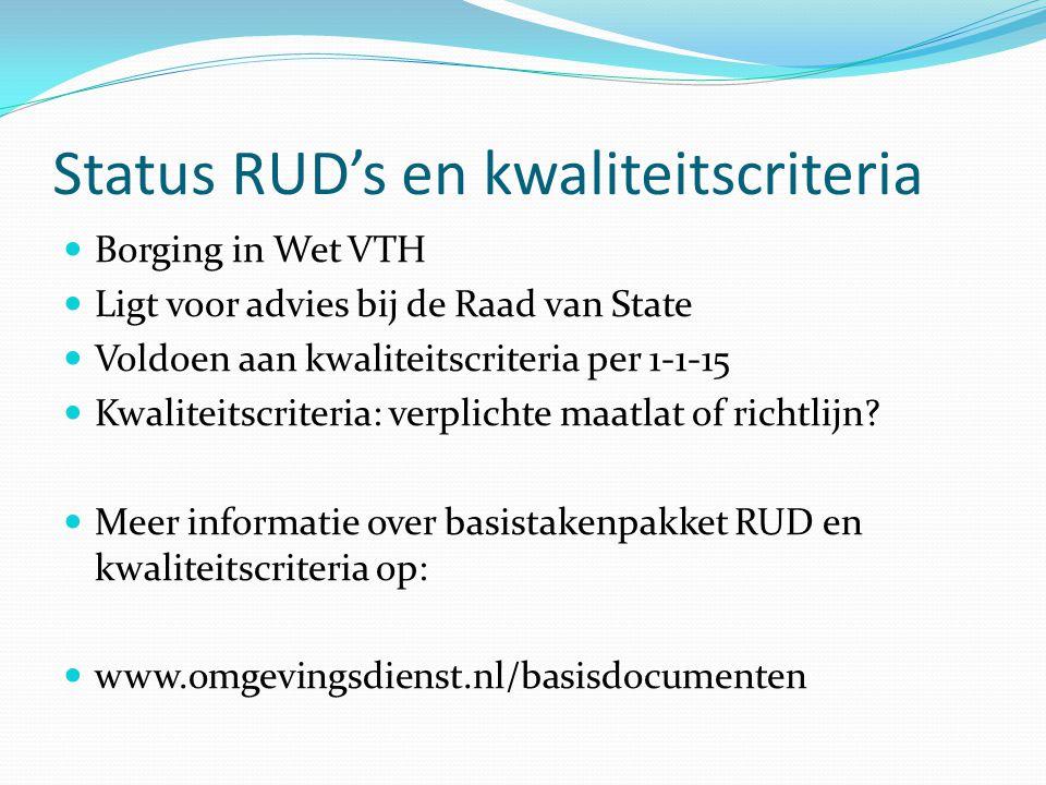 Status RUD's en kwaliteitscriteria