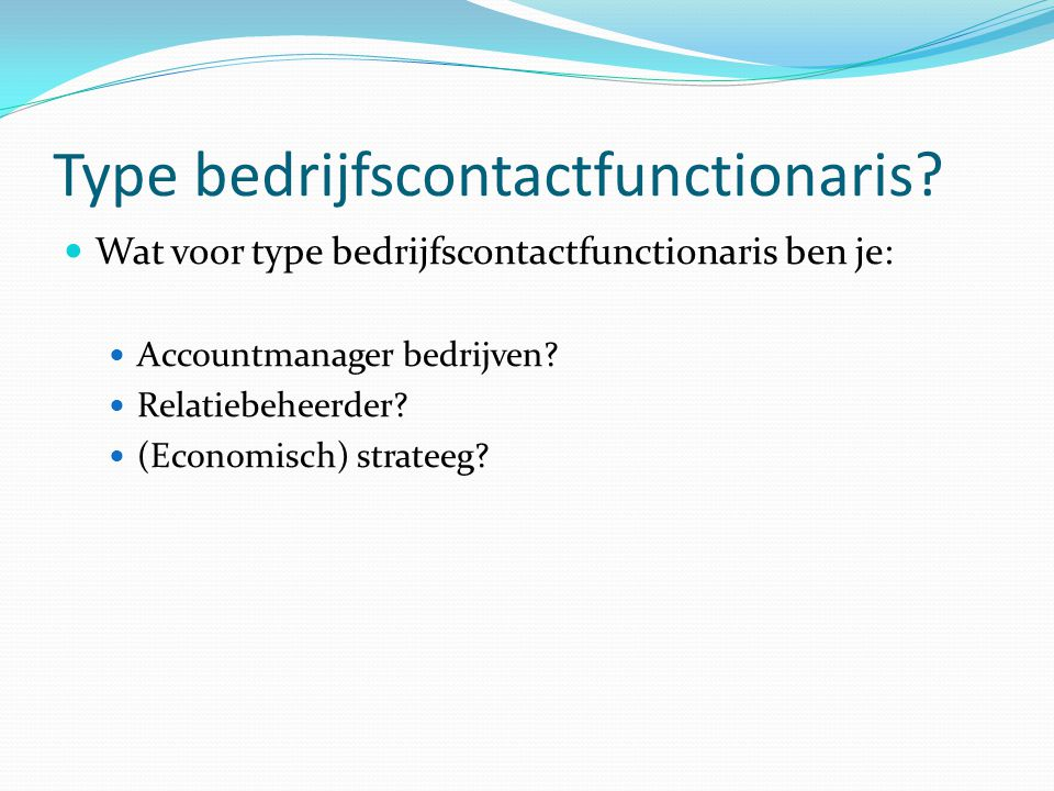 Type bedrijfscontactfunctionaris
