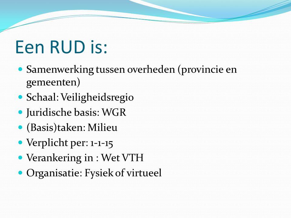 Een RUD is: Samenwerking tussen overheden (provincie en gemeenten)