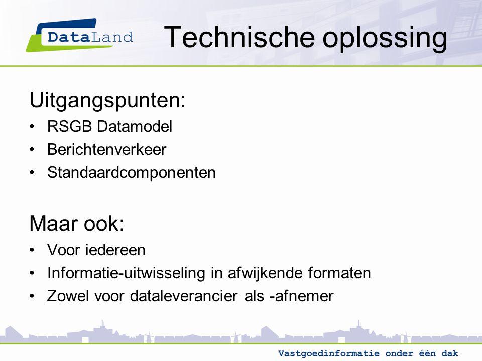 Technische oplossing Uitgangspunten: Maar ook: RSGB Datamodel