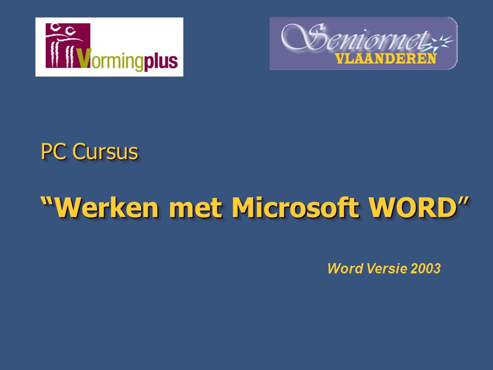 PC Cursus Werken met Microsoft WORD
