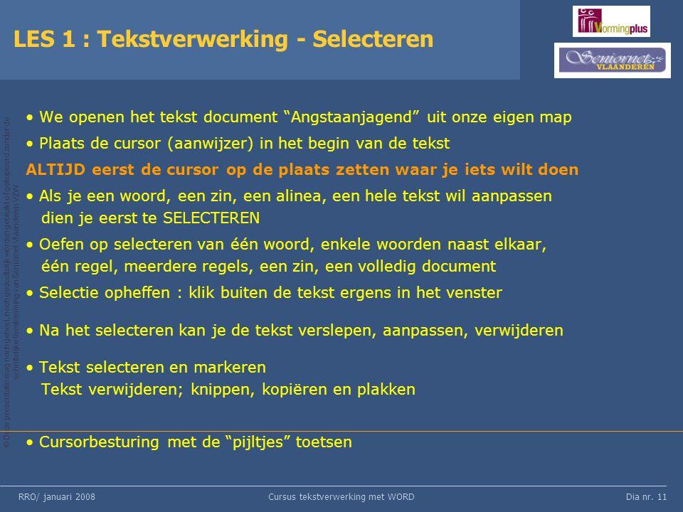 LES 1 : Tekstverwerking - Selecteren