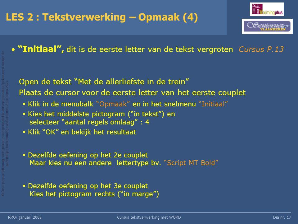 LES 2 : Tekstverwerking – Opmaak (4)