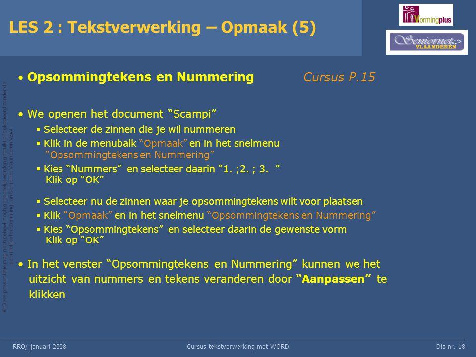 LES 2 : Tekstverwerking – Opmaak (5)