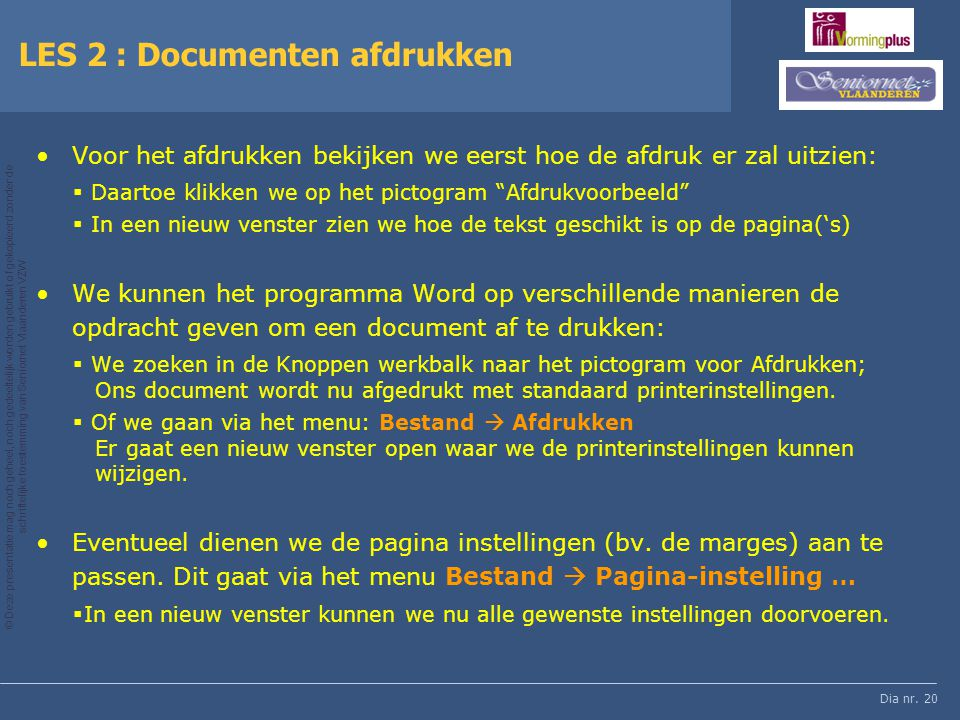 LES 2 : Documenten afdrukken