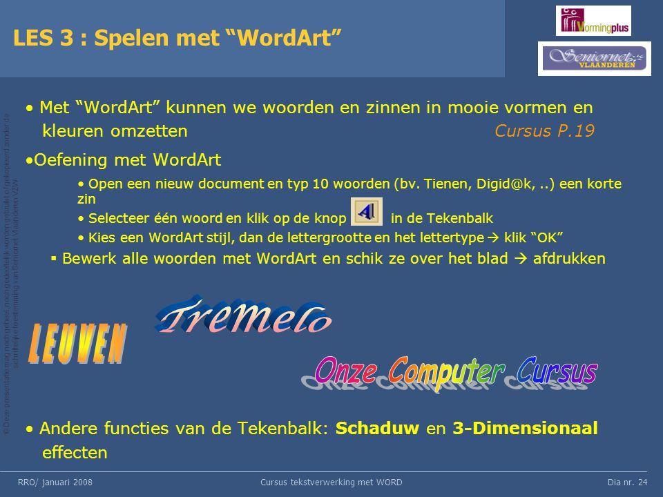 LES 3 : Spelen met WordArt