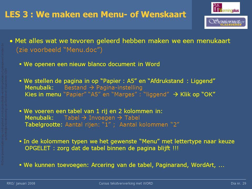 LES 3 : We maken een Menu- of Wenskaart