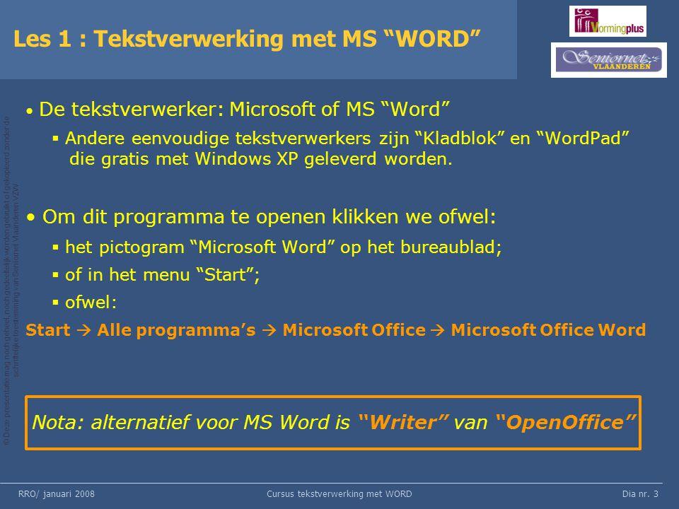 Les 1 : Tekstverwerking met MS WORD