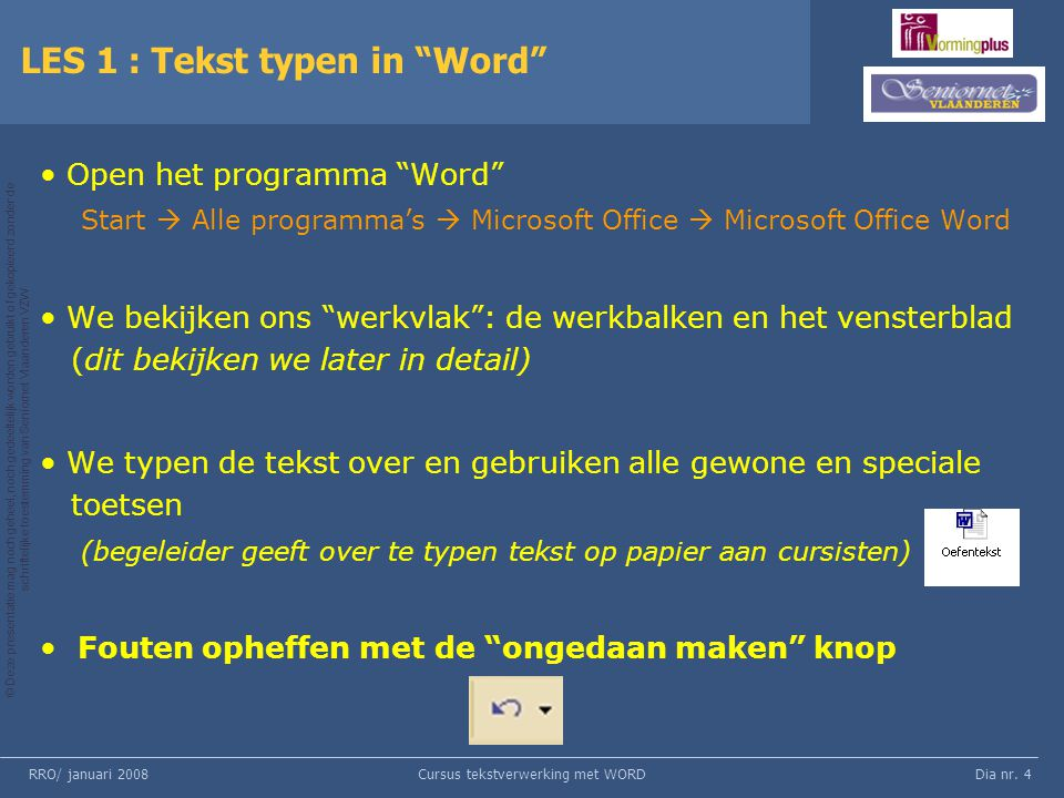 LES 1 : Tekst typen in Word