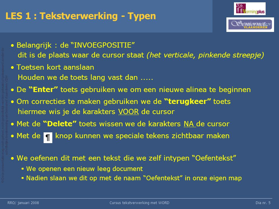LES 1 : Tekstverwerking - Typen